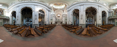 Inside the church of San Frediano in Cestello in the Oltrarno section of Florence, Italy.  Click to view this panorama in new fullscreen window