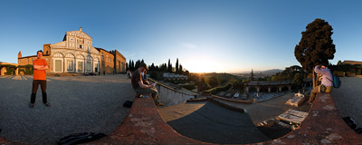 Our favourite place for watching the Tuscan sunset: stairs leading to the church of San Miniato al Monte in Florence, Italy.  Click to view this panorama in new fullscreen window