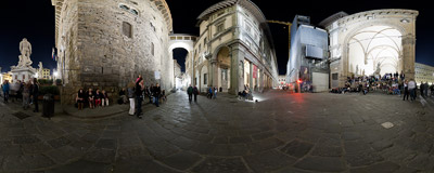 Some musician plays Scorpions, U2 and Coldplay on the corner of Piazza della Signoria, near the Uffizi Gallery building in Florence, Italy.  Click to view this panorama in new fullscreen window