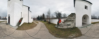 St. Stanislaus' church in Frydman, the oldest relic of sacred architecture in this region.  Click to view this panorama in new fullscreen window