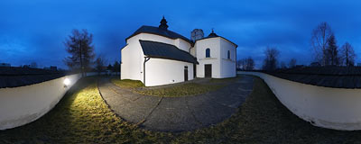 St. Stanisław's church in Frydman.  Click to view this panorama in new fullscreen window