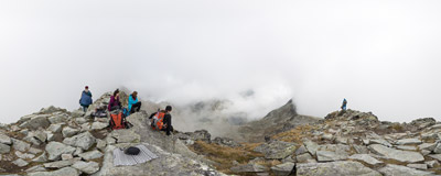In the clouds on the summit of Furkotský štít (2428 m) in Slovak Tatra Mountains.  Click to view this panorama in new fullscreen window