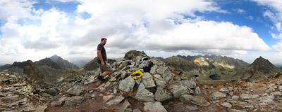 On the summit of Furkotský štít (2428 m) in Slovak Tatra Mountains.  Click to view this panorama in new fullscreen window