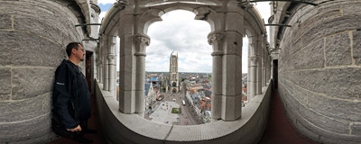 On the gallery of the city belfry in Ghent, Belgium.  Click to view this panorama in new fullscreen window