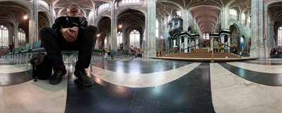 Inside the St. Bavo's Cathedral (Sint-Baafskathedraal) in Ghent, Belgium.  Click to view this panorama in new fullscreen window