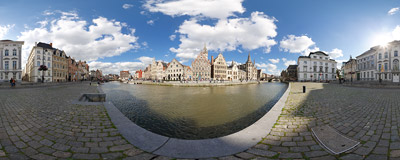 The Korenlei harbour in Ghent, Belgium.  Click to view this panorama in new fullscreen window