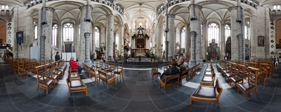 Inside the Gothic Saint Nicholas' church in Ghent, Belgium.  Click to view this panorama in new fullscreen window