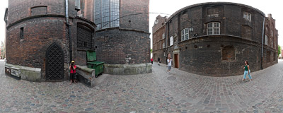 Gdańsk - a narrow street by St. Mary's church, covered with cobblestone.  Click to view this panorama in new fullscreen window