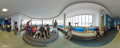 Baltic Hall on the 3rd floor of the Gdynia Aquarium.  Click to view this panorama in new fullscreen window