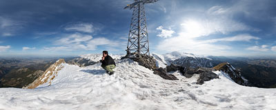 On the summit of Giewont (1894 m) in the Tatra Mountains.  Click to view this panorama in new fullscreen window