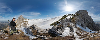 Szczerba Pass (1823 m) in the Tatra Mountains.  Click to view this panorama in new fullscreen window