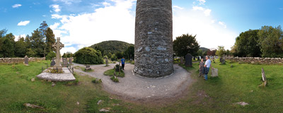 A 30-meter stone tower was used to watch for invading Vikings in the Glendalough monastic city in 11th century.  Click to view this panorama in new fullscreen window