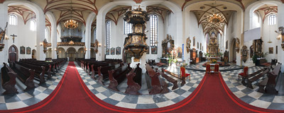 The 15th century Gothic church of All Saints in Gliwice.  Click to view this panorama in new fullscreen window