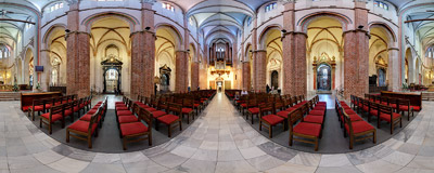Inside the Cathedral Basilica of the Assumption of the Blessed Virgin Mary and St. Adalbert in Gniezno, Poland.  Click to view this panorama in new fullscreen window