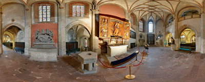 "The late-Gothic altar of Golden Mary (""Goldene Maria"") in the church of Holy Trinity in Görlitz.  Click to view this panorama in new fullscreen window"