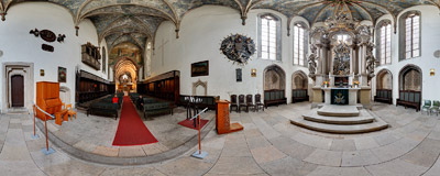 The Baroque main altar in the church of Holy Trinity in Görlitz.  Click to view this panorama in new fullscreen window