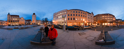 Marienplatz - one of main squares of Görlitz.  Click to view this panorama in new fullscreen window