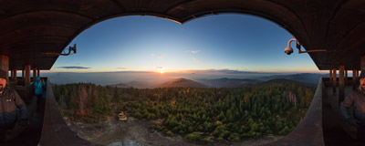 An October sunrise on a new viewing tower on the summit of Gorc (1228 m) in the Gorce mountain range.  Click to view this panorama in new fullscreen window