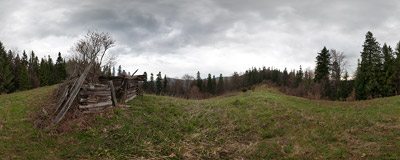 Solnisko in the Gorce mountain range.  Click to view this panorama in new fullscreen window