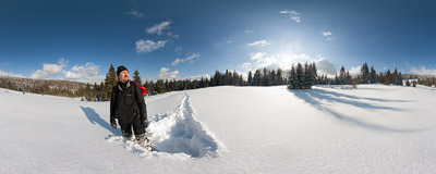 Fighting my way through the powdery snow on Polana Stawieniec on the trail to Kudłoń in the Gorce mountain range.  Click to view this panorama in new fullscreen window