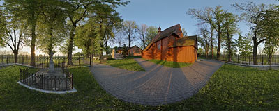 All Saints' church in Górka Kościelnicka.  Click to view this panorama in new fullscreen window