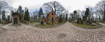 Kraków - Rakowice Cemetery: grave of a famous Polish painter, Jan Matejko.  Click to view this panorama in new fullscreen window
