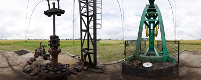 A pumpjack in an oil well near Wola Drwińska.  Click to view this panorama in new fullscreen window