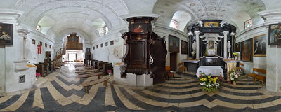 Old baroque church of St. Mary's Assumption in Grodzisko near Skała.  Click to view this panorama in new fullscreen window