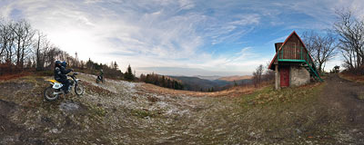 Groń Jana Pawła II (890 m) in the Beskidy mountain range.  Click to view this panorama in new fullscreen window