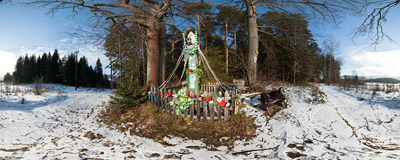 This shrine on the slopes of Gronik in the Beskid Mały mountains was founded by two local iron ore miners in 1896.  Click to view this panorama in new fullscreen window