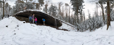 Grota Komonieckiego: the most famous cave of the Beskid Mały mountain range.  Click to view this panorama in new fullscreen window