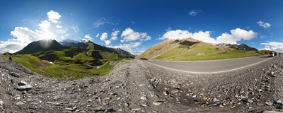 The Georgian Military Road near its highest point: the Jvari Pass (2379 m).  Click to view this panorama in new fullscreen window