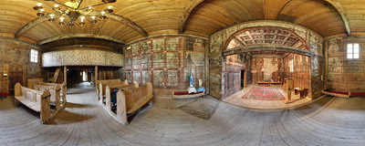 Inside the nave of the 15th century wooden church of St. Martin in Grywałd.  Click to view this panorama in new fullscreen window