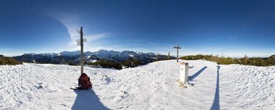 On the summit of Grześ (Lučna, 1654 m) in the Western Tatra Mountains.  Click to view this panorama in new fullscreen window