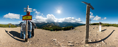 On the summit of Grześ (Lučna, 1654 m) on the Polish-Slovak border in Western Tatra mountain range.  Click to view this panorama in new fullscreen window