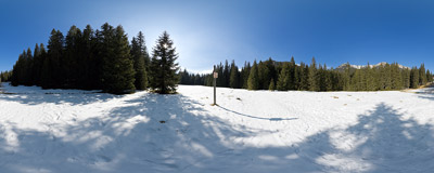 Winter in the Kościeliska Valley in the Tatra Mountains, just above the Hala Ornak mountain hut.  Click to view this panorama in new fullscreen window