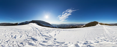 A nice day in March at Hala Pawlusia in the Beskid Żywiecki Mountains.  Click to view this panorama in new fullscreen window