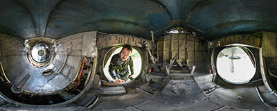 Inside the engine compartment of a Harrier GR.3 aircraft in the Polish Aviation Museum in Kraków.  Click to view this panorama in new fullscreen window