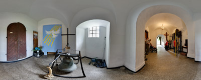 In the narthex of the church in Hebdów.  Click to view this panorama in new fullscreen window