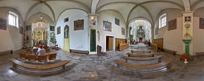 Church in Hebdów.  Click to view this panorama in new fullscreen window