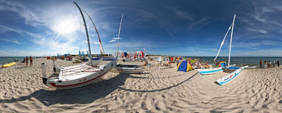 Baltic Sea beach in Hel.  Click to view this panorama in new fullscreen window