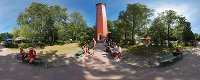 Lighthouse in Hel.  Click to view this panorama in new fullscreen window