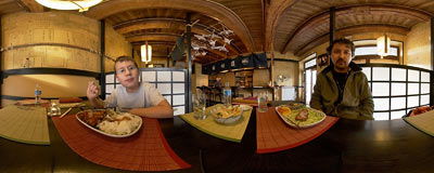 Horai oriental restaurant in Wolnica Square in Kraków.  Click to view this panorama in new fullscreen window