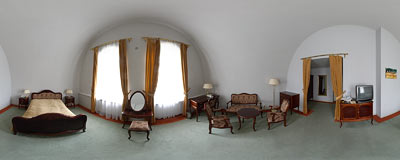 A room in the Hotel pod Kopcem located in an old fort around Kościuszko Mound.  Click to view this panorama in new fullscreen window