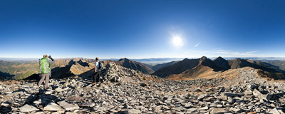 On the summit of Hrubá kopa (2163 m) in Slovak Tatra mountains.  Click to view this panorama in new fullscreen window