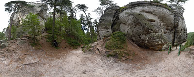 Hruboskalsko in Bohemian Paradise.  Click to view this panorama in new fullscreen window