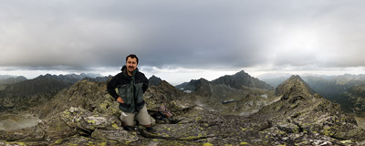The summit of Hrubý vrch (2428 m) in Slovak Tatra Mountains.  Click to view this panorama in new fullscreen window
