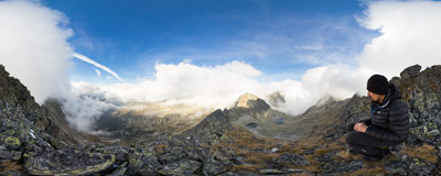Among the clouds below the summit of Hrubý vrch (2428 m) in Slovak Tatra Mountains.  Click to view this panorama in new fullscreen window
