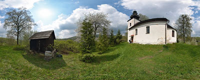 The Romanesque church of St. Giles in Ilija near Banská Štiavnica.  Click to view this panorama in new fullscreen window
