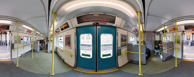 Inside a DART train at a station in Bray.  Click to view this panorama in new fullscreen window